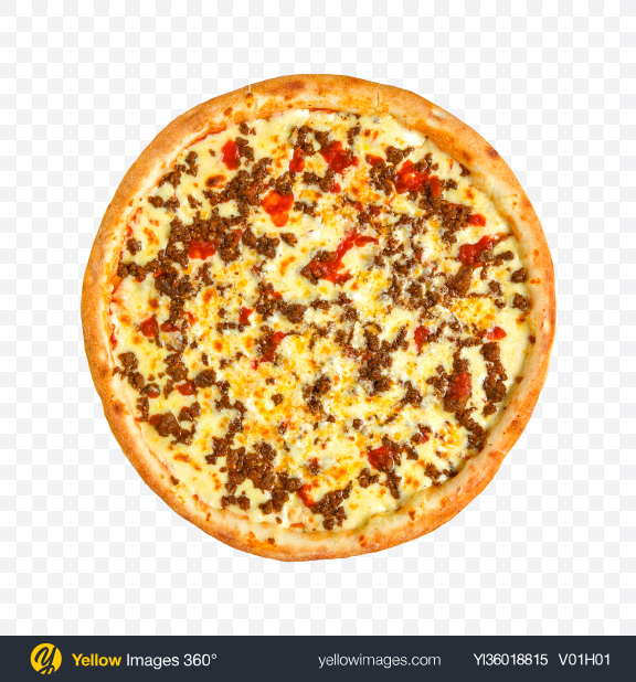 Download Pizza with Minced Meat and Tomatoes Transparent PNG on YELLOW Images
