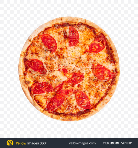 Download Margherita Pizza with Tomatoes Transparent PNG on YELLOW Images