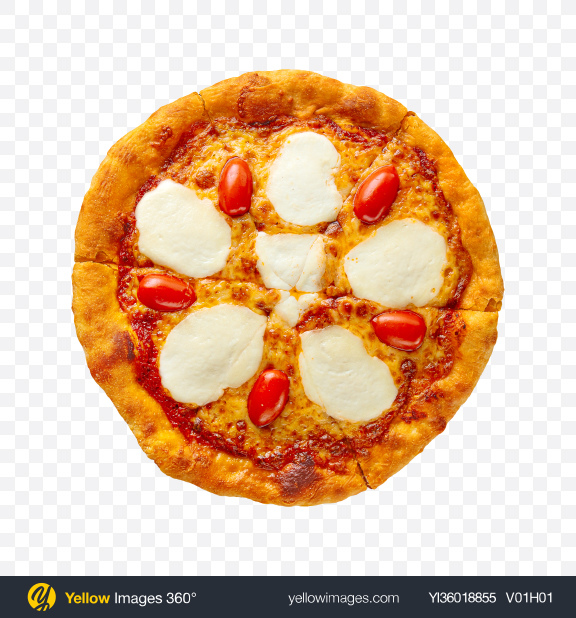 Download Margherita Pizza with Cheese Transparent PNG on YELLOW Images