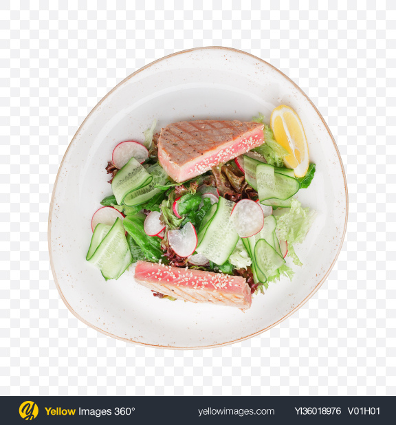 Download Roasted Tuna Steak w/ Salad Transparent PNG on YELLOW Images