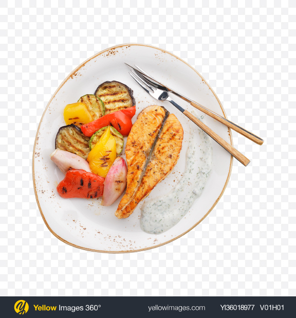 Download Baked Salmon w/ Vegetables Transparent PNG on YELLOW Images