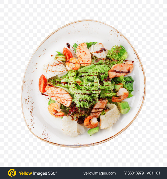 Download Salad w/ Shrimps & Chicken Transparent PNG on YELLOW Images