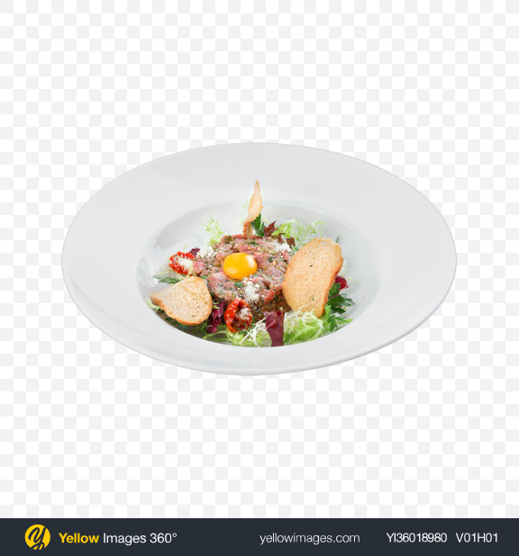 Download Tartare w/ Salad & Croutons Transparent PNG on YELLOW Images