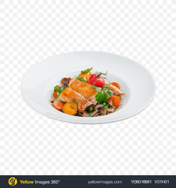 Download Roasted Chicken w/ Mushrooms & Vegetables Transparent PNG on YELLOW Images