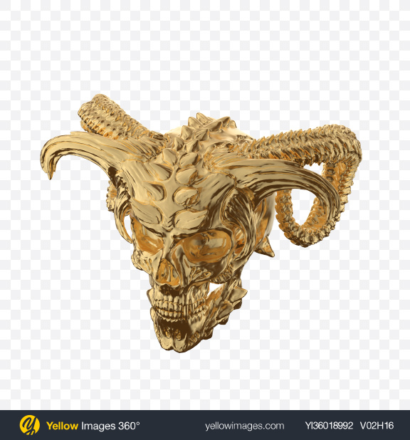 Download Golden Demon Skull Transparent PNG on YELLOW Images