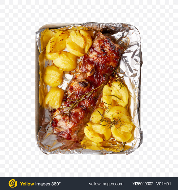 Download Baked Meat Piece w/ Potatoes Transparent PNG on YELLOW Images