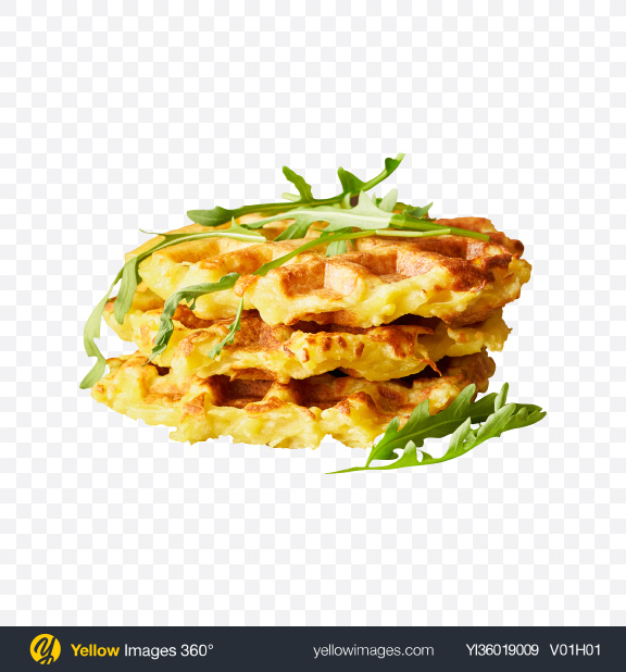 Download Potato Waffles w/ Arugula Transparent PNG on YELLOW Images