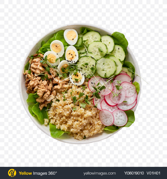 Download Bowl w/ Walnuts & Bulgur Transparent PNG on YELLOW Images