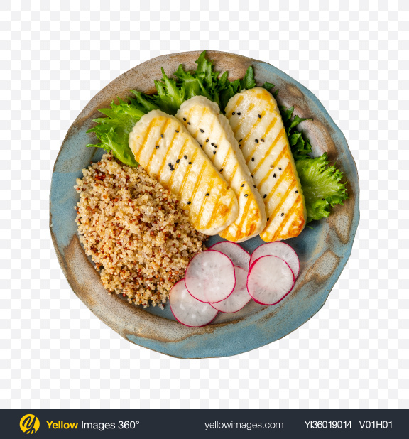 Download Quinoa w/ Fried Cheese & Vegetables Transparent PNG on YELLOW Images