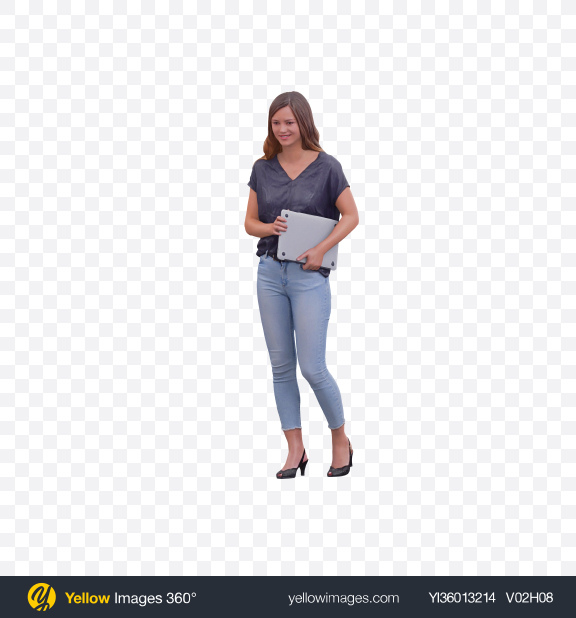 Download Woman Holding Laptop Transparent PNG on YELLOW Images
