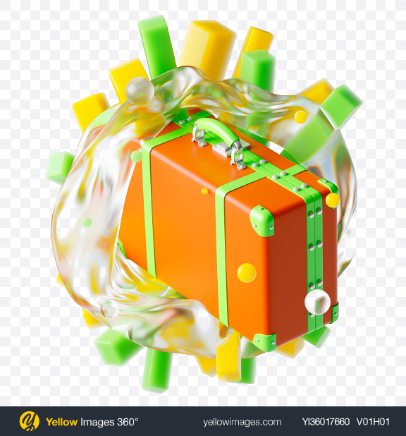 Download Abstract Suitcase Set Transparent PNG on YELLOW Images