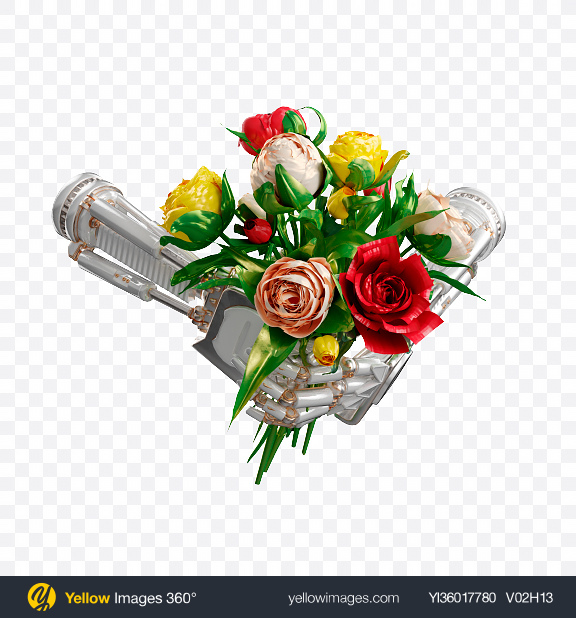 Download Robot Hands w/ Flowers Transparent PNG on YELLOW Images