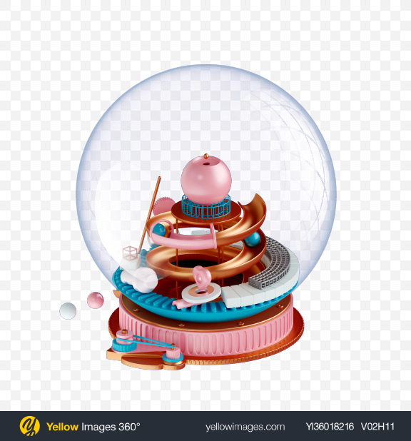 Download Glass Sphere w/ Abstract Shapes Transparent PNG on YELLOW Images